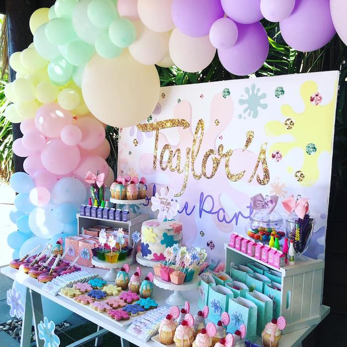 Girly Science Themed Dessert Table from a Girly Science Party on Kara's Party Ideas | KarasPartyIdeas.com (12)