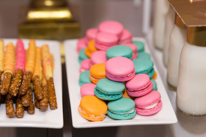 """Teal + Pink + Orange Macarons from a Glam Neon """"Oh the Places You'll Go"""" Graduation Party on Kara's Party Ideas 