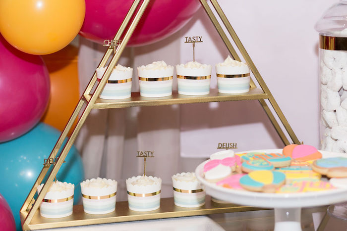 """Gold Accented Cupcakes from a Glam Neon """"Oh the Places You'll Go"""" Graduation Party on Kara's Party Ideas 