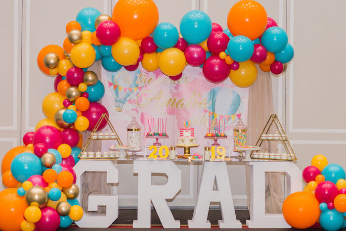 """GRAD Dessert Table from a Glam Neon """"Oh the Places You'll Go"""" Graduation Party on Kara's Party Ideas 