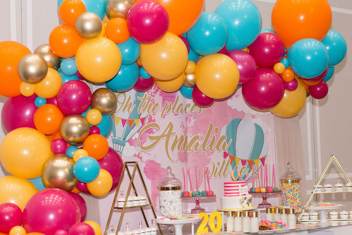 """Colorful Glam Balloon Garland from a Glam Neon """"Oh the Places You'll Go"""" Graduation Party on Kara's Party Ideas 