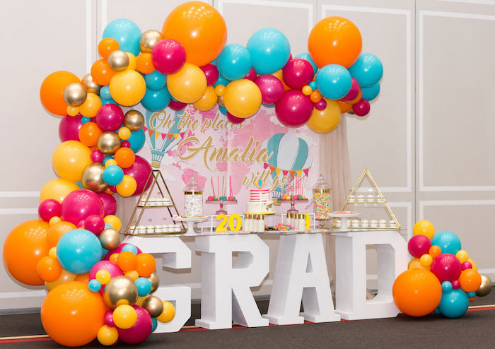 """Glam Neon """"Oh the Places You'll Go"""" Graduation Party on Kara's Party Ideas 