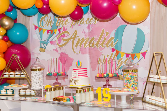 """Dessert Table from a Glam Neon """"Oh the Places You'll Go"""" Graduation Party on Kara's Party Ideas 
