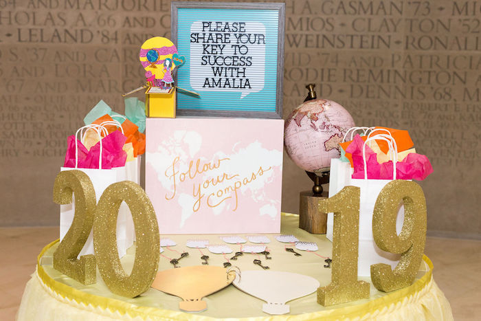 """Key To Success Grad Table from a Glam Neon """"Oh the Places You'll Go"""" Graduation Party on Kara's Party Ideas 