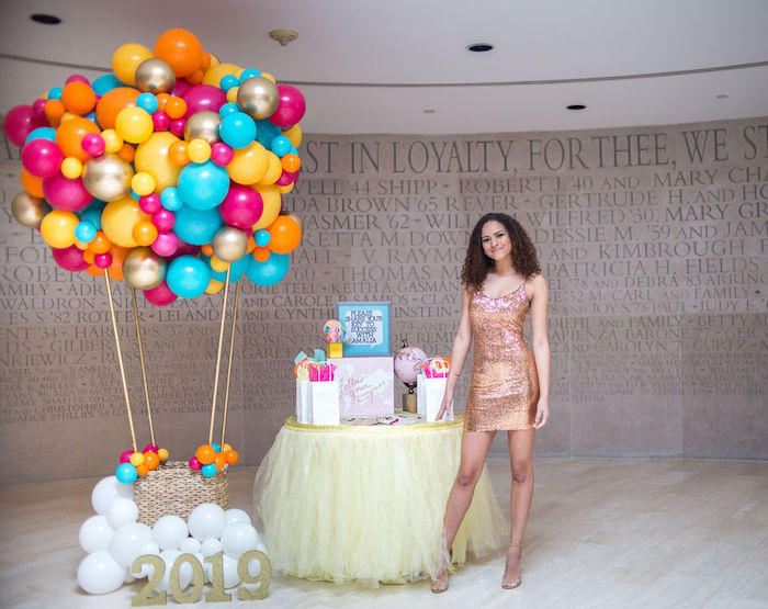 """Balloon Hot Air Balloon from a Glam Neon """"Oh the Places You'll Go"""" Graduation Party on Kara's Party Ideas 