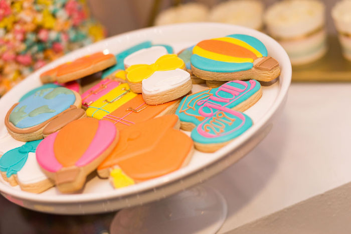 """Oh the Places You'll Go-inspired Grad Cookies from a Glam Neon """"Oh the Places You'll Go"""" Graduation Party on Kara's Party Ideas 