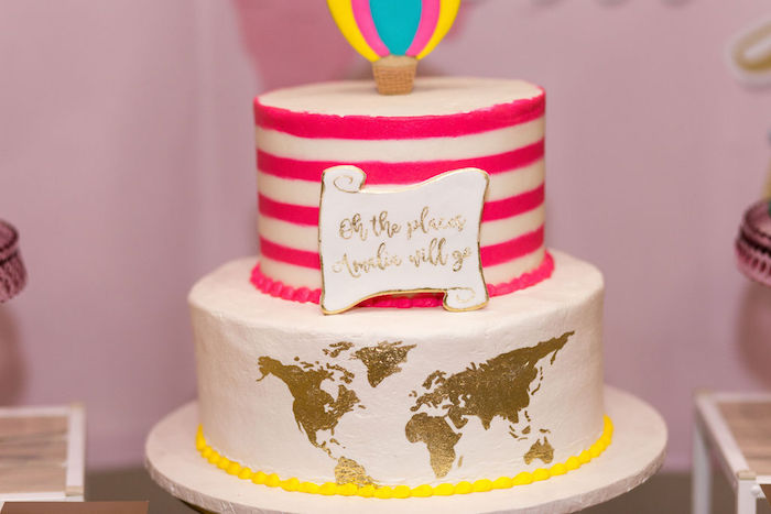 """Oh the Places You'll Go - Map Cake from a Glam Neon """"Oh the Places You'll Go"""" Graduation Party on Kara's Party Ideas 