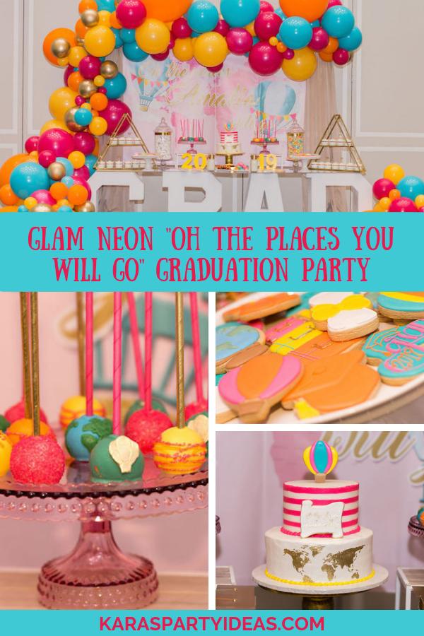 Glam Neon Oh the Places You Will Go Graduation Party via Kara's Party Ideas - KarasPartyIdeas