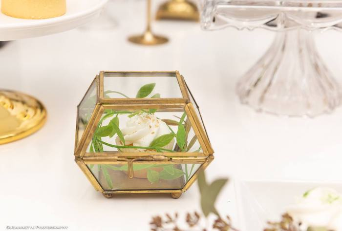 Modern Gold Lantern filled with Bamboo Leaves from a Gold Panda Baby Shower on Kara's Party Ideas | KarasPartyIdeas.com (19)