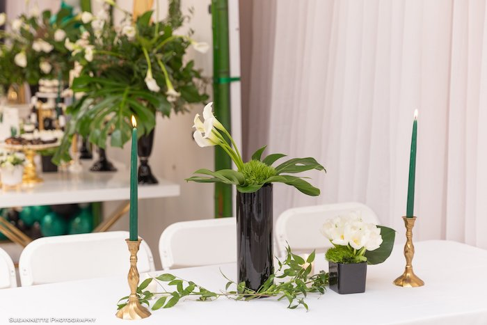 Panda Bear-inspired Blooms + Centerpieces from a Gold Panda Baby Shower on Kara's Party Ideas | KarasPartyIdeas.com (18)