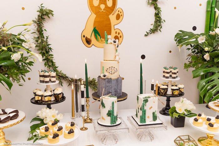 Panda Bear Themed Cake Table from a Gold Panda Baby Shower on Kara's Party Ideas | KarasPartyIdeas.com (15)