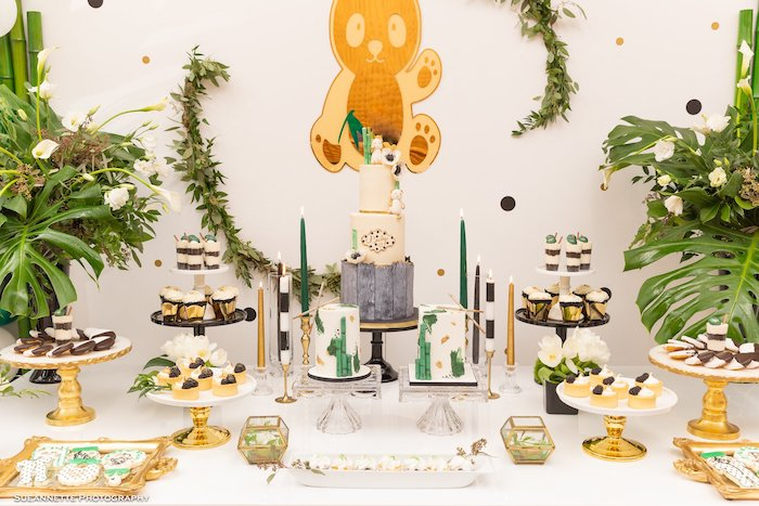 Panda Bear Themed Cake Table from a Gold Panda Baby Shower on Kara's Party Ideas | KarasPartyIdeas.com (14)