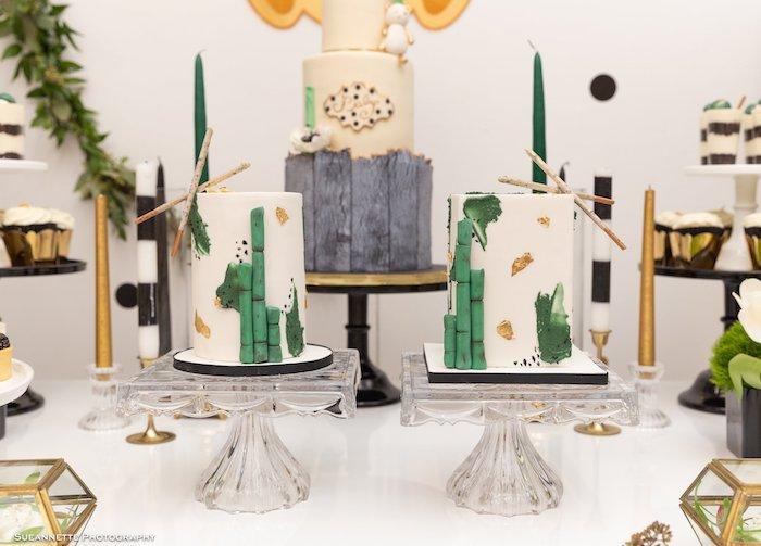 Bamboo Shoot Cakes from a Gold Panda Baby Shower on Kara's Party Ideas | KarasPartyIdeas.com (12)
