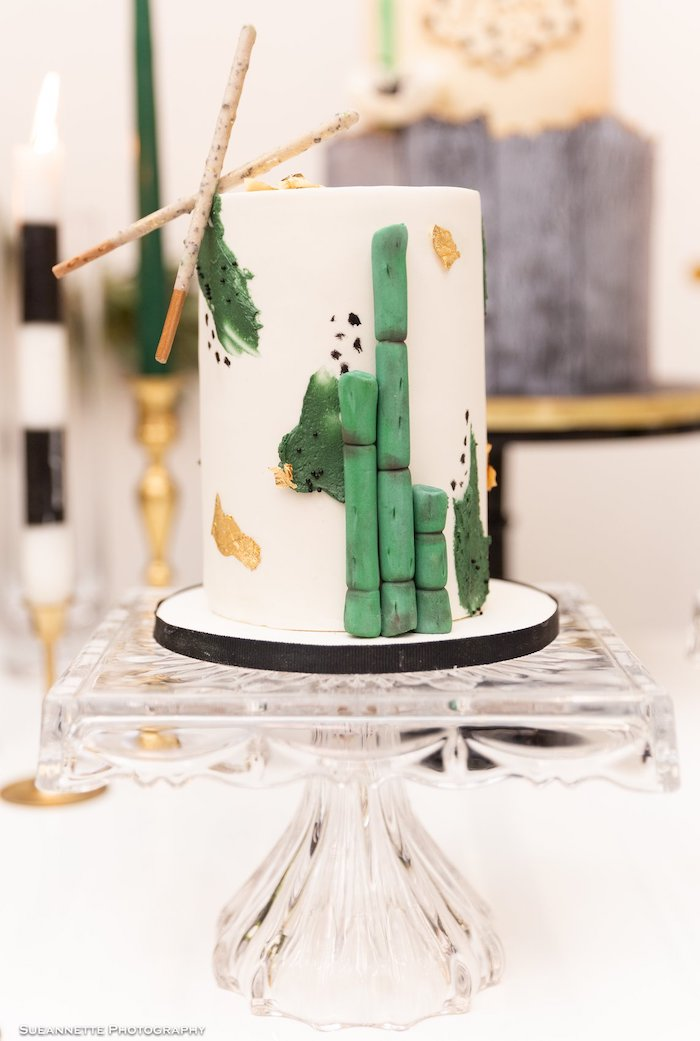 Glam Watercolor Cake adorned with Bamboo from a Gold Panda Baby Shower on Kara's Party Ideas | KarasPartyIdeas.com (11)