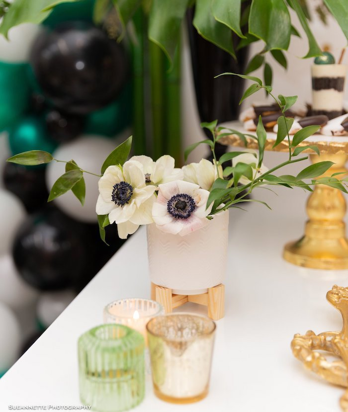 White Anemone Blooms from a Gold Panda Baby Shower on Kara's Party Ideas | KarasPartyIdeas.com (9)