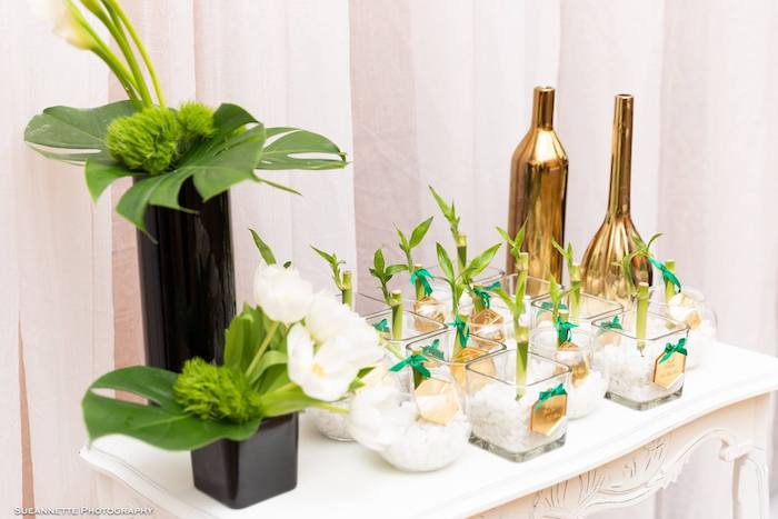Bamboo Plant Favors from a Gold Panda Baby Shower on Kara's Party Ideas | KarasPartyIdeas.com (27)
