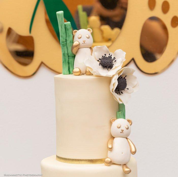 Panda Bear Cake from a Gold Panda Baby Shower on Kara's Party Ideas | KarasPartyIdeas.com (26)