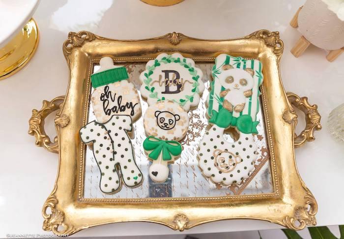 Panda Bear Themed Baby Shower Cookies from a Gold Panda Baby Shower on Kara's Party Ideas | KarasPartyIdeas.com (25)