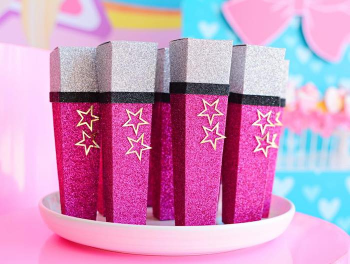 Glam Microphone Favor Boxes from a JoJo Siwa Girly Glam Birthday Party on Kara's Party Ideas | KarasPartyIdeas.com (6)
