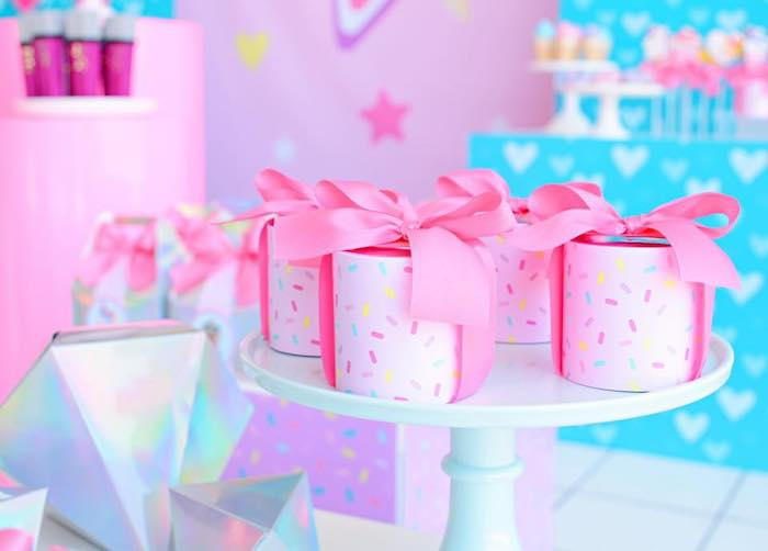 Sprinkled + Bow-tied Favors from a JoJo Siwa Girly Glam Birthday Party on Kara's Party Ideas | KarasPartyIdeas.com (22)