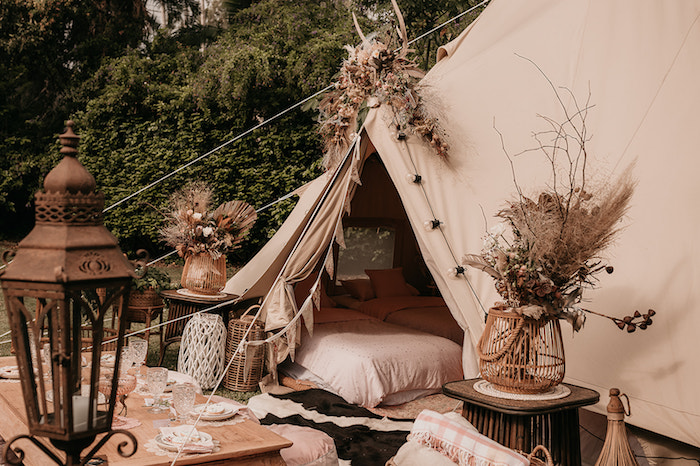Bohemian Themed Party Tent from a Luxe Bohemian Sleepover Party on Kara's Party Ideas | KarasPartyIdeas.com (30)