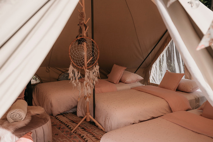 Tentscape + Beds from a Luxe Bohemian Sleepover Party on Kara's Party Ideas | KarasPartyIdeas.com (21)