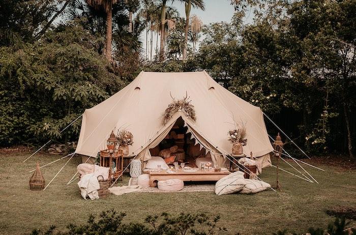 Boho Sleepover Tent from a Luxe Bohemian Sleepover Party on Kara's Party Ideas | KarasPartyIdeas.com (18)