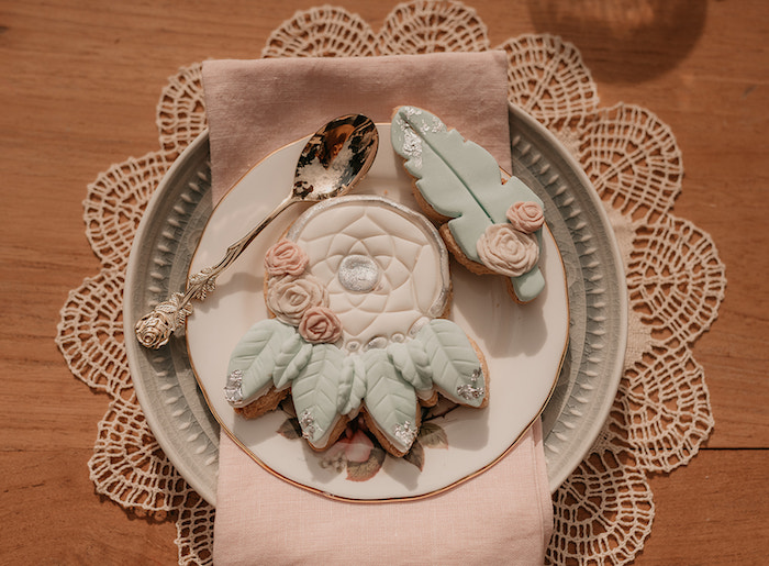 Dreamcatcher + Feather Cookies + Table Setting from a Luxe Bohemian Sleepover Party on Kara's Party Ideas | KarasPartyIdeas.com (38)