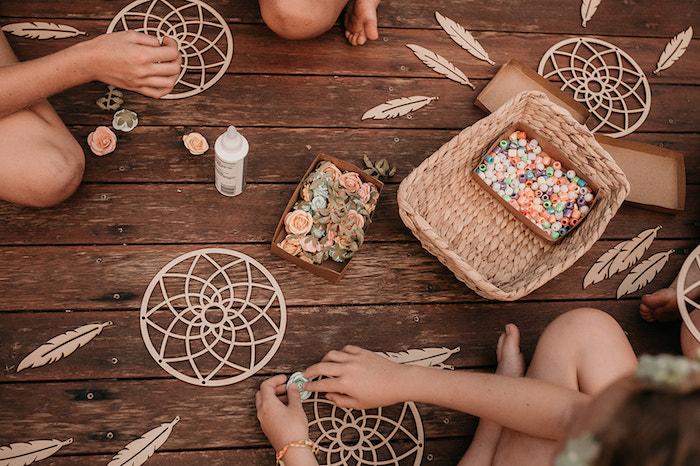 Dreamcatcher Activity from a Luxe Bohemian Sleepover Party on Kara's Party Ideas | KarasPartyIdeas.com (9)