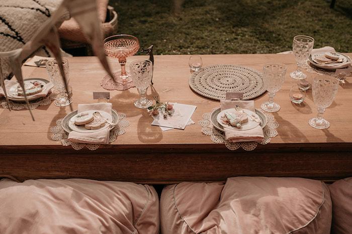 Boho Dining Table from a Luxe Bohemian Sleepover Party on Kara's Party Ideas | KarasPartyIdeas.com (36)