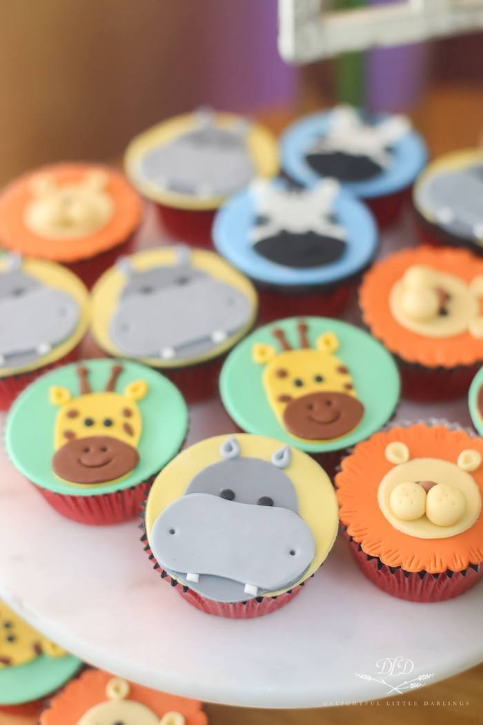 Safari Animal Cupcakes from a Madagascar Birthday Party on Kara's Party Ideas | KarasPartyIdeas.com (7)