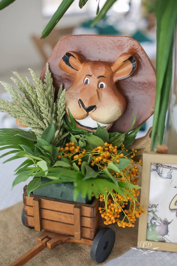 Alex the Lion Jungle Centerpiece from a Madagascar Birthday Party on Kara's Party Ideas | KarasPartyIdeas.com (6)
