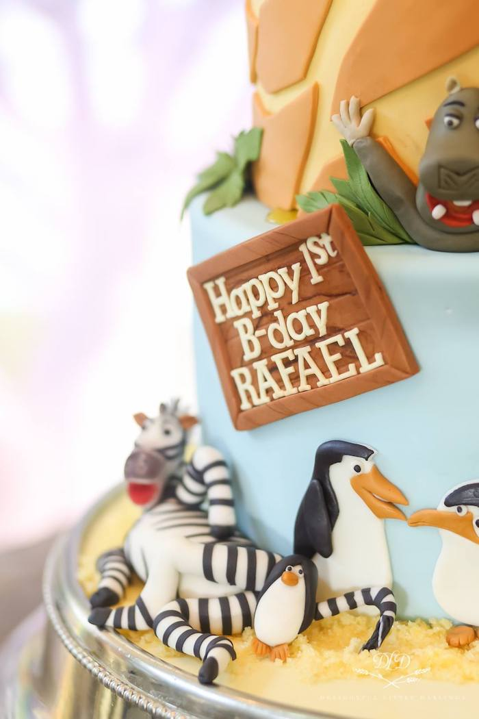 Madagascar Themed Birthday Cake from a Madagascar Birthday Party on Kara's Party Ideas | KarasPartyIdeas.com (5)