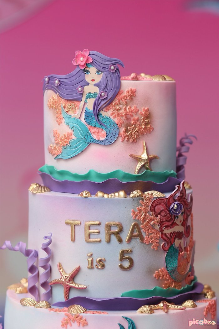 Mermaid Birthday Cake from a Magical Mermaid Birthday Party on Kara's Party Ideas | KarasPartyIdeas.com (27)