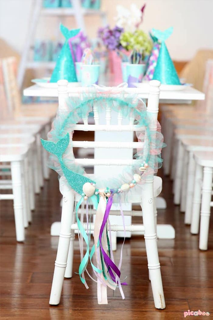 Under the Sea Chair Wreath from a Magical Mermaid Birthday Party on Kara's Party Ideas | KarasPartyIdeas.com (21)