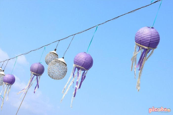 Jellyfish Paper Lantern Light Strand from a Magical Mermaid Birthday Party on Kara's Party Ideas | KarasPartyIdeas.com (20)