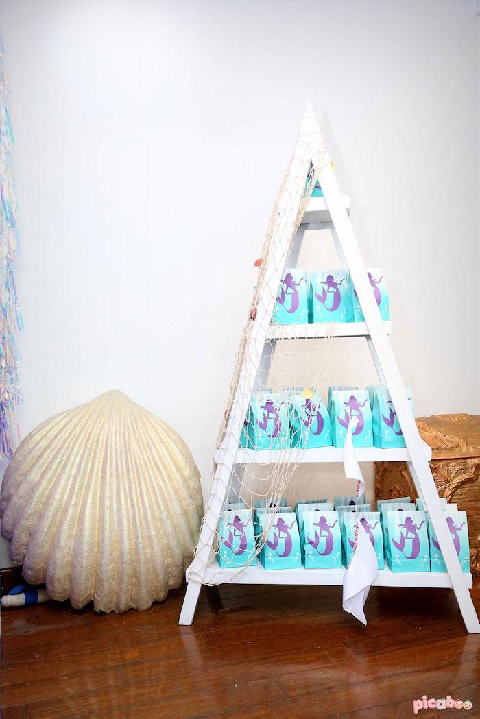 Favor Bag Shelf from a Magical Mermaid Birthday Party on Kara's Party Ideas | KarasPartyIdeas.com (36)