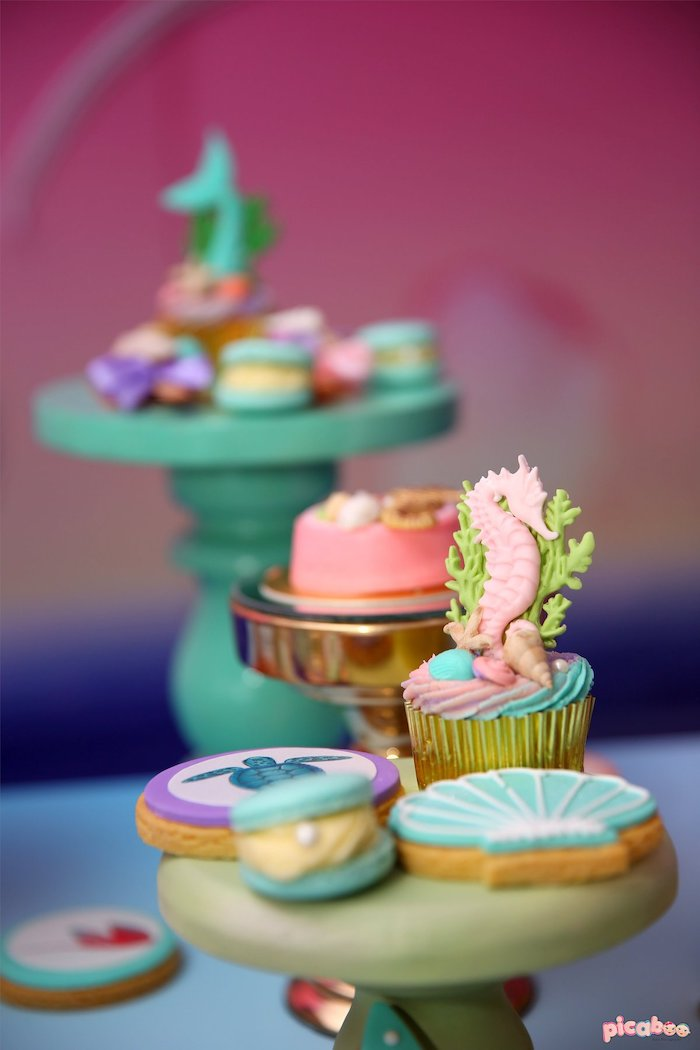Seahorse Cupcake from a Magical Mermaid Birthday Party on Kara's Party Ideas | KarasPartyIdeas.com (17)