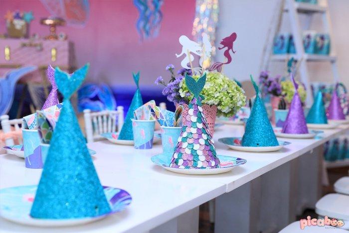 Mermaid Themed Table Settings from a Magical Mermaid Birthday Party on Kara's Party Ideas | KarasPartyIdeas.com (14)