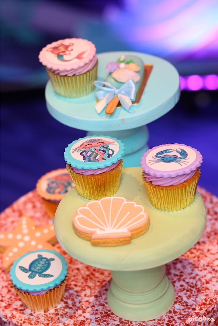 Sea Shell Cookie + Under the Sea Cupcakes from a Magical Mermaid Birthday Party on Kara's Party Ideas   KarasPartyIdeas.com (12)