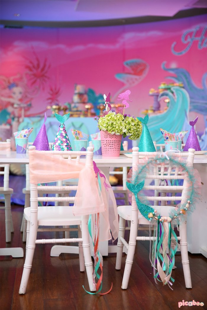 Under the Sea Themed Party Chairs from a Magical Mermaid Birthday Party on Kara's Party Ideas | KarasPartyIdeas.com (10)