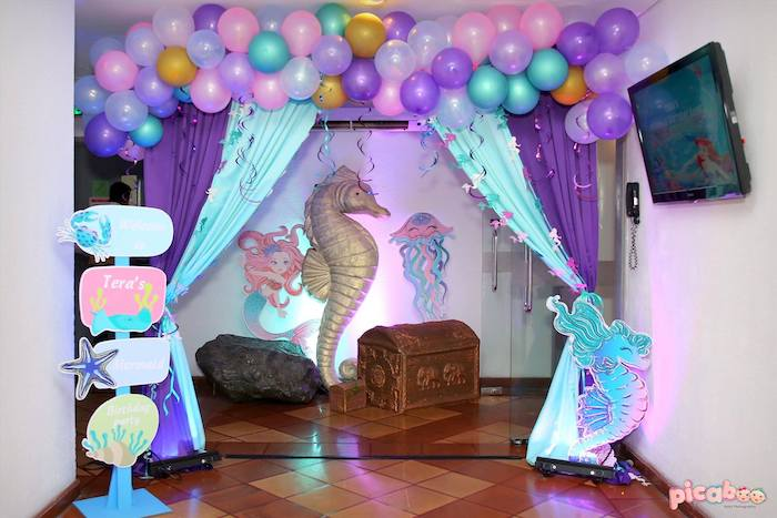 Mermaid Party Entrance from a Magical Mermaid Birthday Party on Kara's Party Ideas | KarasPartyIdeas.com (9)