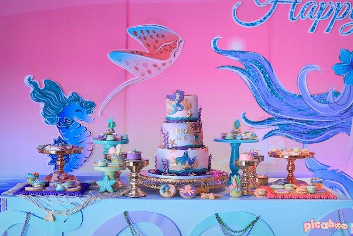 Mermaid Themed Dessert Table from a Magical Mermaid Birthday Party on Kara's Party Ideas | KarasPartyIdeas.com (8)