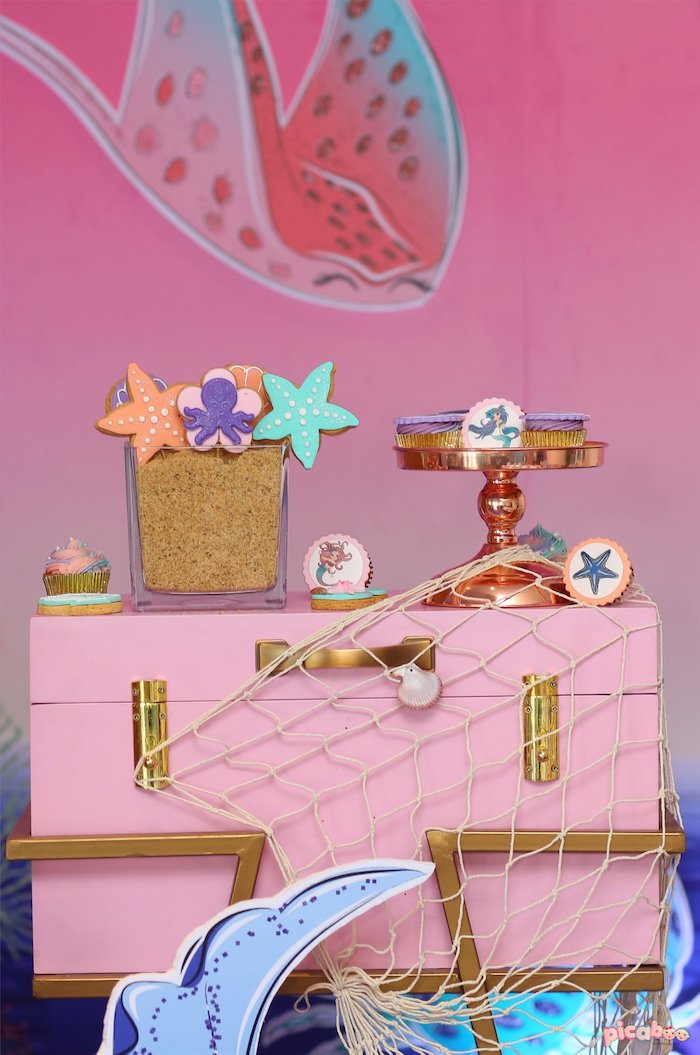 Pink Treasure Chest + Under the Sea Sweets from a Magical Mermaid Birthday Party on Kara's Party Ideas | KarasPartyIdeas.com (7)