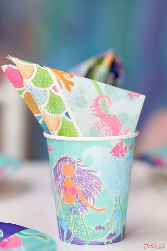 Mermaid Cup & Napkin from a Magical Mermaid Birthday Party on Kara's Party Ideas | KarasPartyIdeas.com (5)