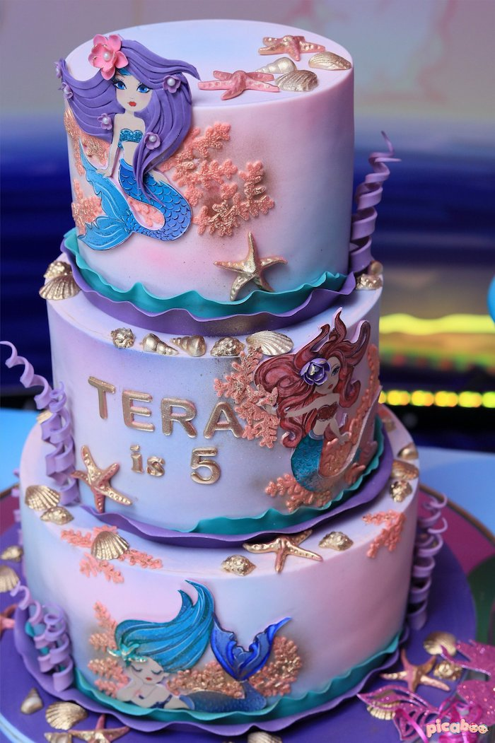 Mermaid Cake from a Magical Mermaid Birthday Party on Kara's Party Ideas | KarasPartyIdeas.com (34)