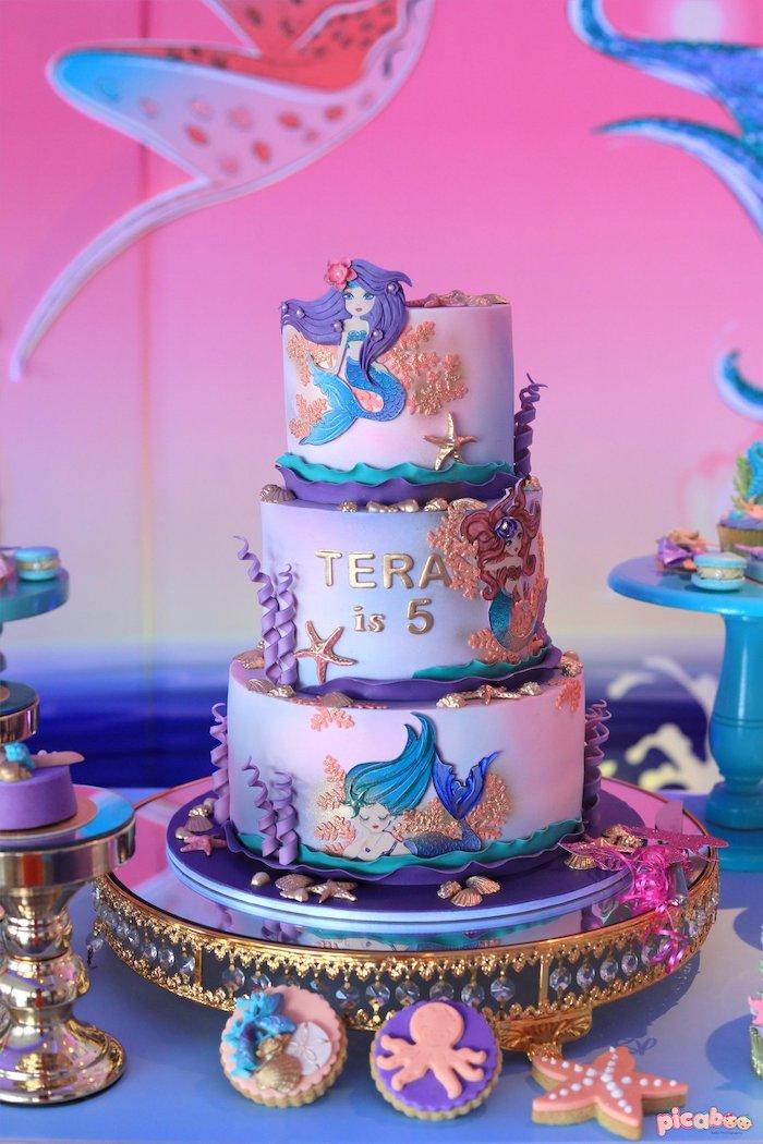 Mermaid Cake from a Magical Mermaid Birthday Party on Kara's Party Ideas | KarasPartyIdeas.com (32)