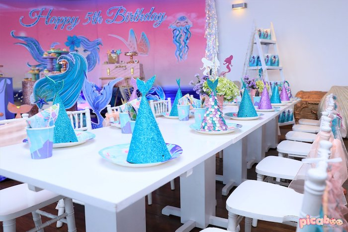 Under the Sea Mermaid Themed Guest Table from a Magical Mermaid Birthday Party on Kara's Party Ideas | KarasPartyIdeas.com (30)