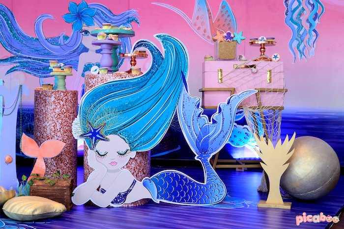 Mermaid Standee from a Magical Mermaid Birthday Party on Kara's Party Ideas | KarasPartyIdeas.com (29)