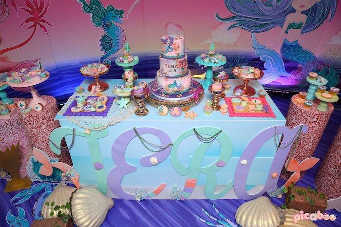 Mermaid Themed Dessert Table from a Magical Mermaid Birthday Party on Kara's Party Ideas | KarasPartyIdeas.com (28)